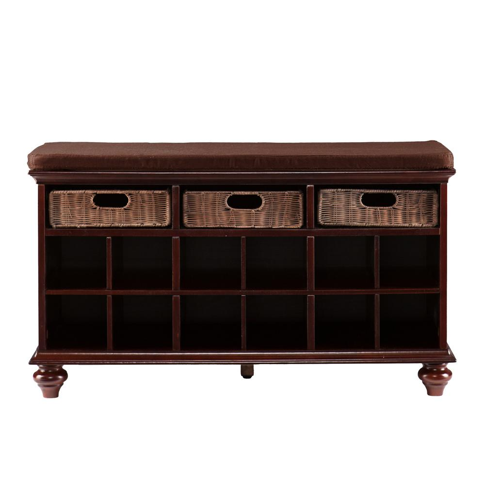 Southern Enterprises Hellen Espresso Entryway Shoe Bench