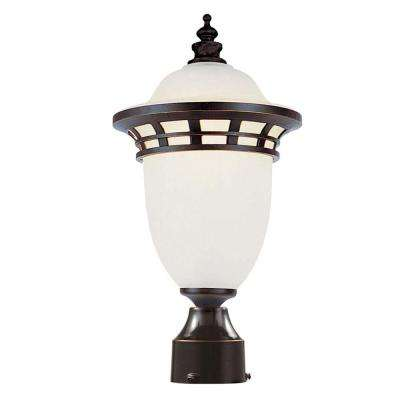 Imperial 1-Light Outdoor Bronze Post Top Lantern with Frosted Glass