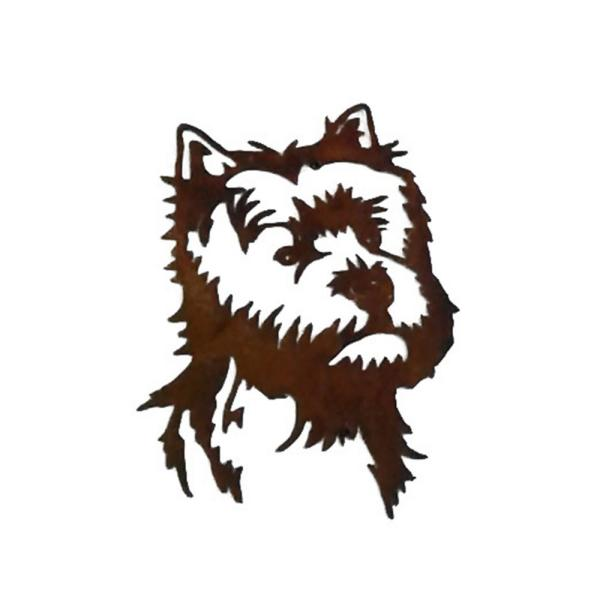 Unbranded 12 In Tall Brownish Red Steel Metal Rustic Look Rust Yorkie Silhouette Cd404 The Home Depot