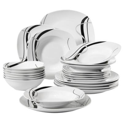 FIONA 24-Piece Porcelain White Dinnerware Set with Black Stripe Dinner Plate and Bowls Set(Service for 6)