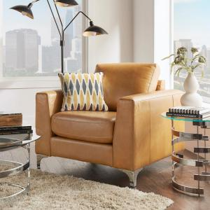 Russel Caramel Leather Arm Chair
