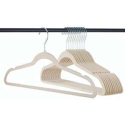 Velvet Cloth Hanger 50 Pack in Ivory Color