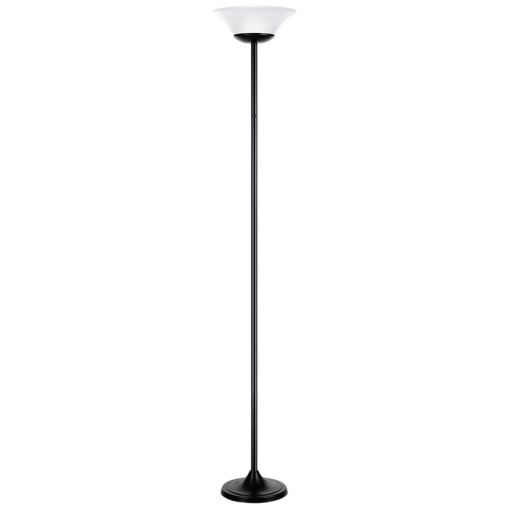 70 in. 1-Light Matte Black LED Floor Lamp