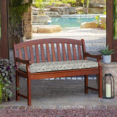 Rectangle Outdoor Bench Cushion in Neutral Aurora Damask