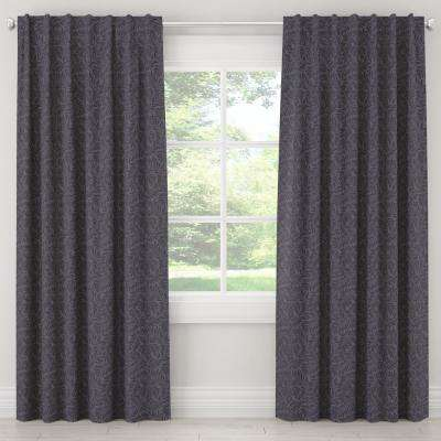 50 in. W x 63 in. L Blackout Curtain in Georgian Vine Blue Black