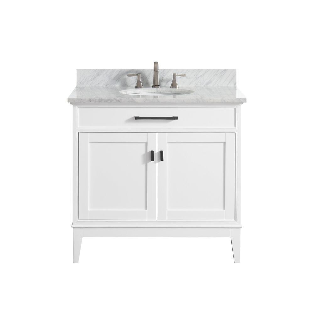Madison 37 in. W x 22 in. D x 35 in. H Vanity in White with Marble Vanity Top in Carrera White with White Basin