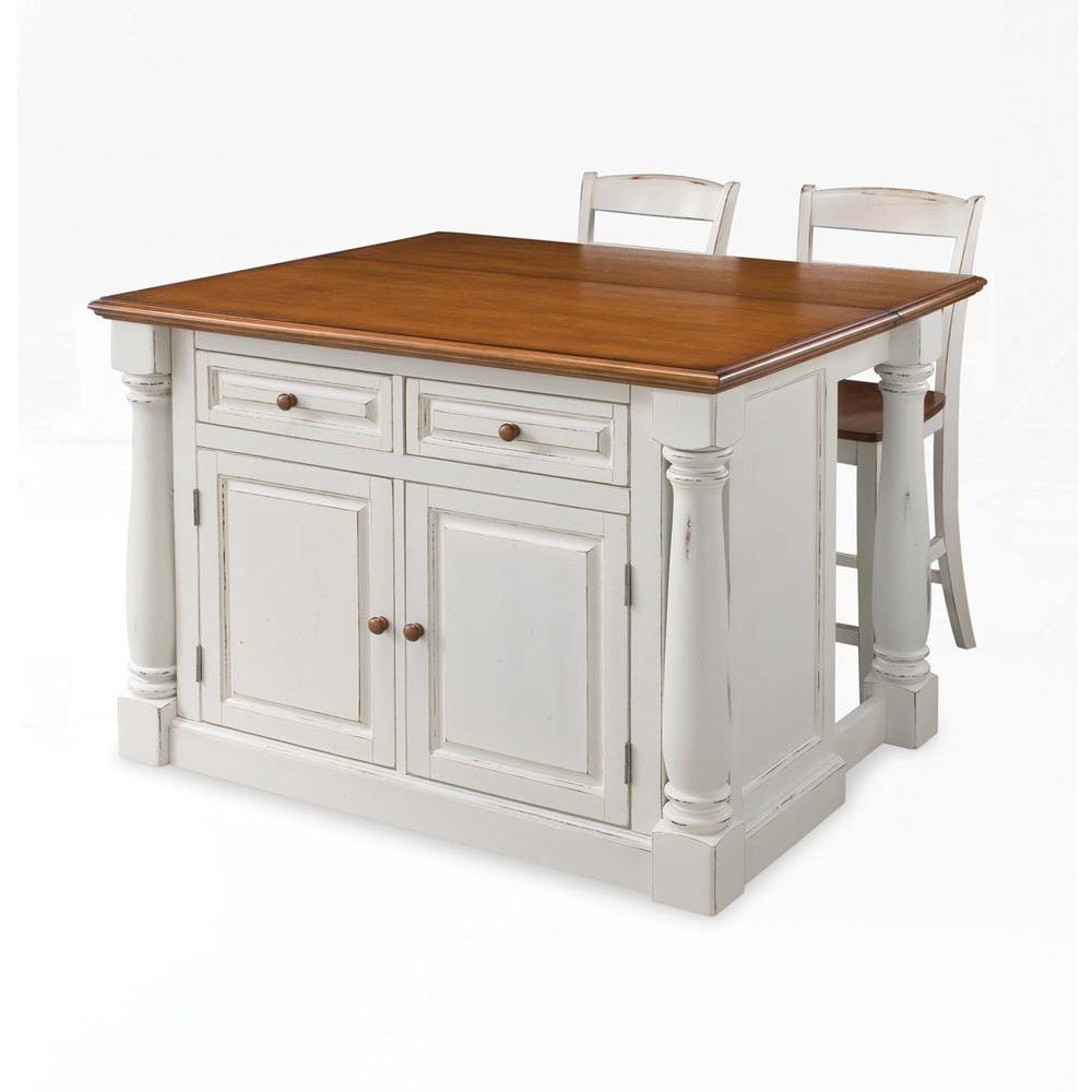 Home Styles Monarch White Kitchen Island With Seating-5020-948 - The ...