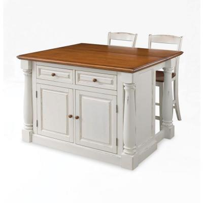 Distressed Kitchen Island White Oak Cupboards Metal Chairs ...