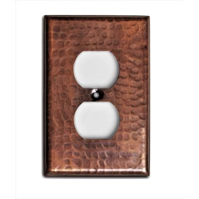 Pure Hand Hammered Duplex Wall Plate, Copper