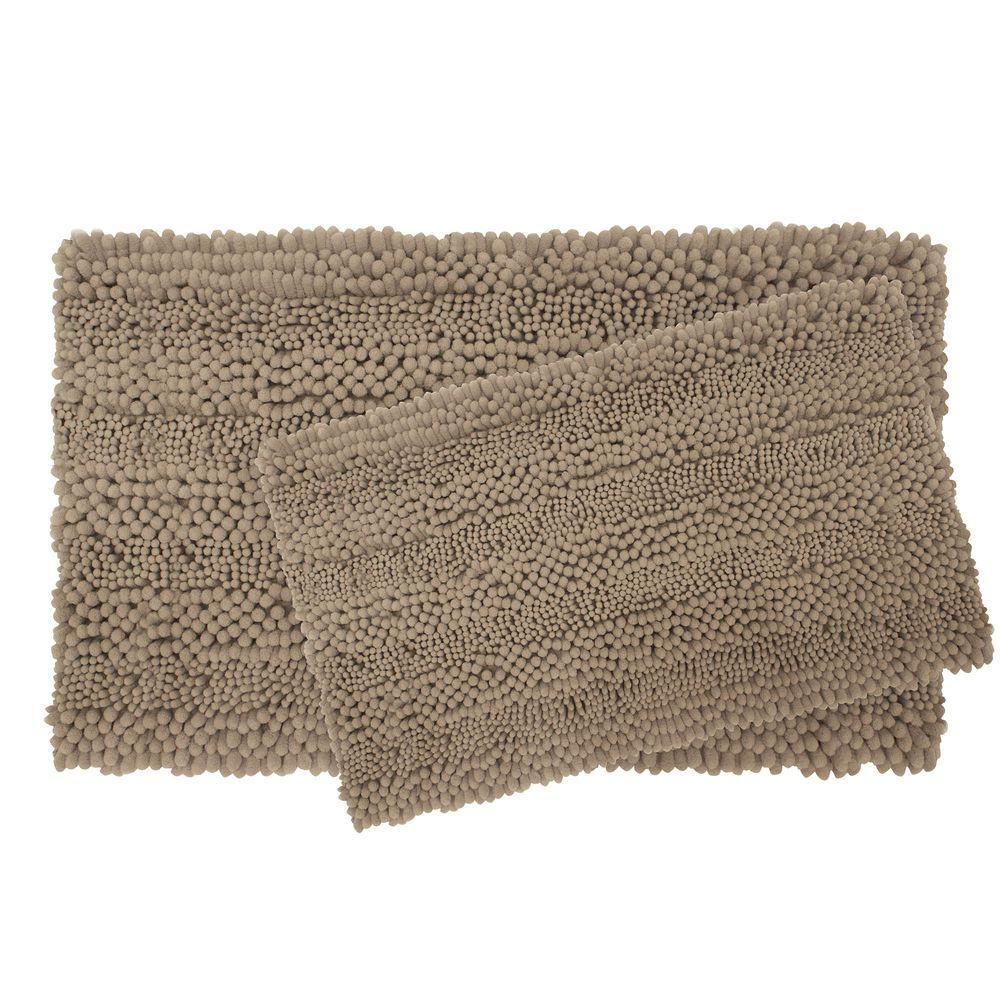 Astor Striped Chenille 17 in. x 24 in./ 20 in. x 34 in. 2-Piece Plush Bath Mat Set in Linen