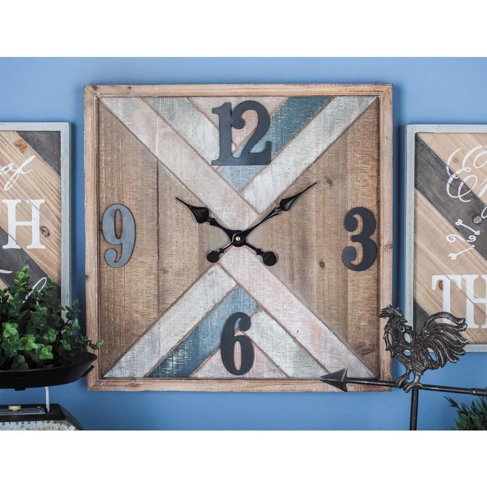 19 in. x 19 in. Rustic Chevron Wall Clock