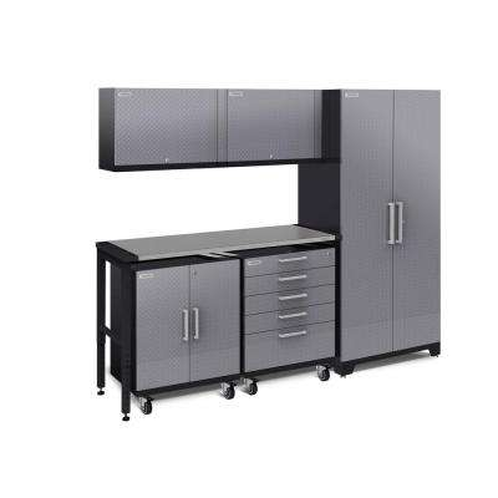 Performance Plus Diamond Plate 2.0 80 in. H x 97 in. W x 24 in. D Garage Cabinet Set in Silver (6-Piece)