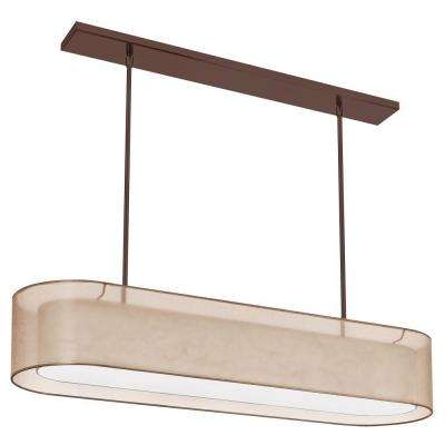 Catherine 4 Light Incandescent Oil Brushed Bronze Chandelier with Gold Organza Shades