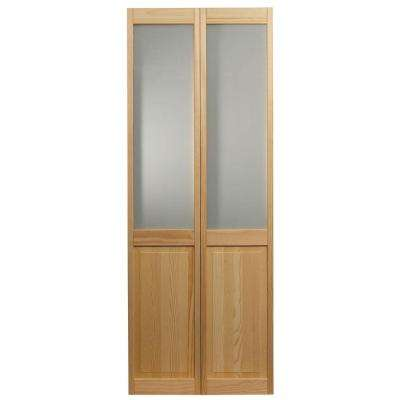 36 in. x 80 in. Frosted Glass Over Raised 1/2-Lite Panel Pine Wood Interior Bi-fold Door