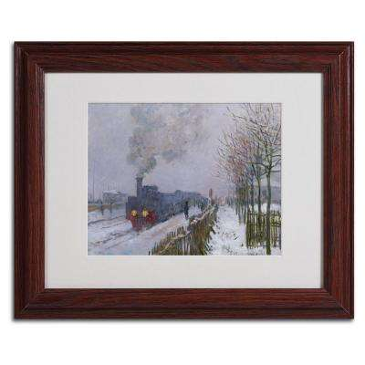 11 in. x 14 in. Train in the Snow Matted Brown Framed Wall Art