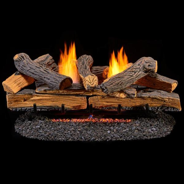 Stacked Red Oak 30 in. Vent-Free Gas Fireplace Logs With Manual Control