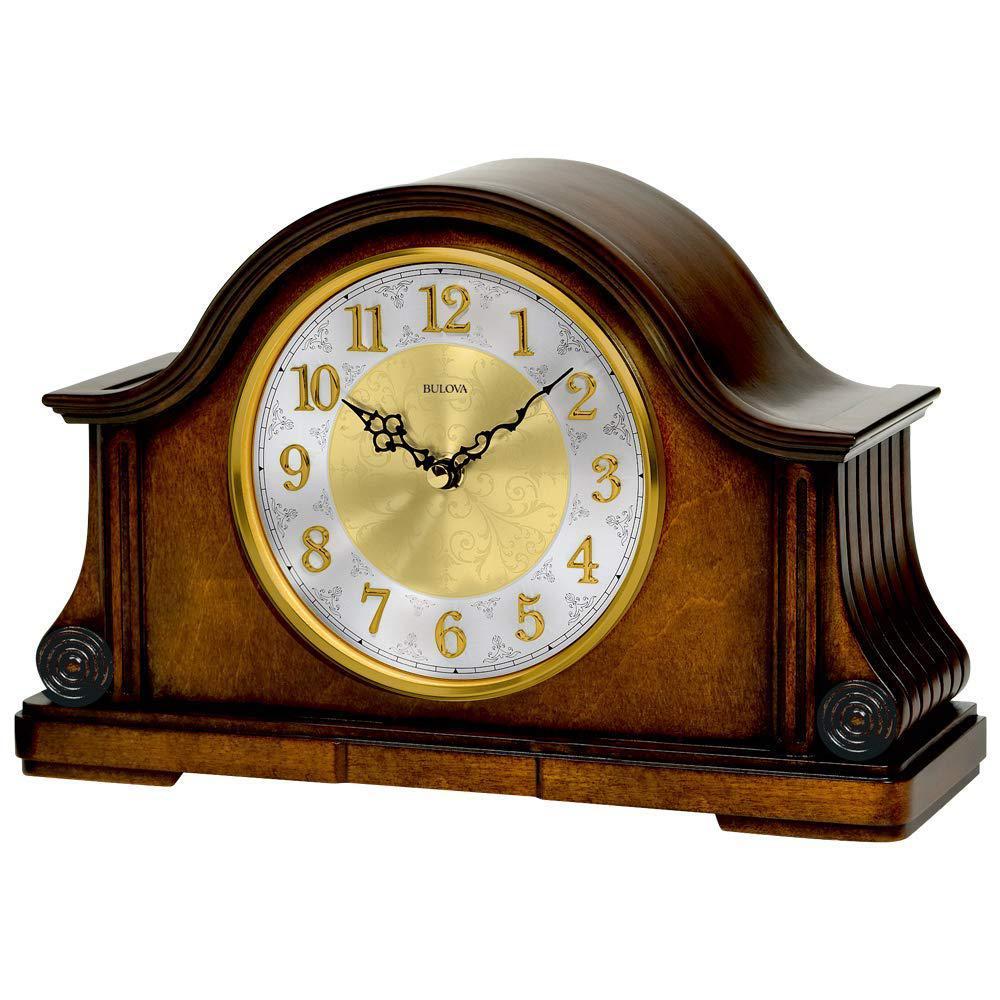 B1975 Chadbourne Desk Clock with Solid Wood and Walnut Finish