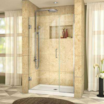 Unidoor Plus 40 to 40-1/2 in. x 72 in. Frameless Hinged Shower Door in Chrome