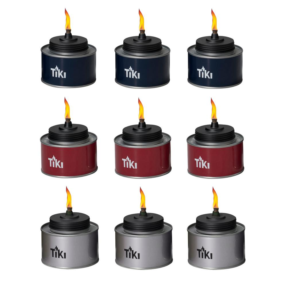 4.5 in. TIKI Tin Table Torch Red, White and Blue (9-Pack)