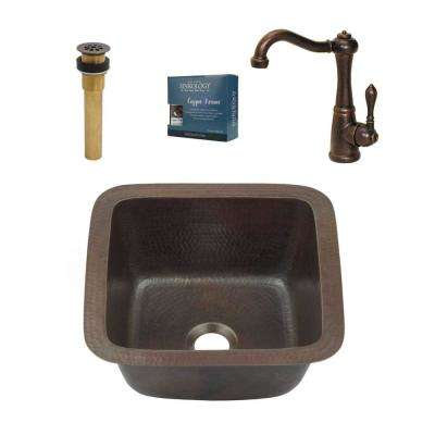 Pollock All-in-One Undermount Copper 15 in. Bar/Prep Sink with Pfister Rustic Bronze Faucet and Drain in Bronze