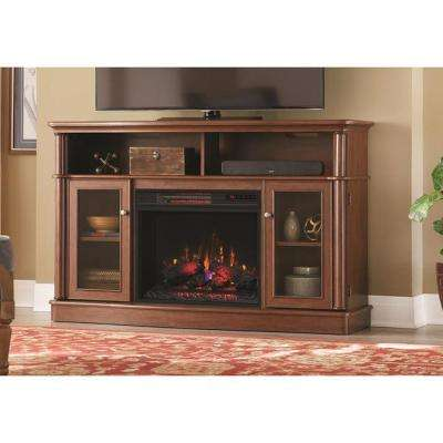 Tolleson 56 in. TV Stand Infrared Bow Front Electric Fireplace in Mocha