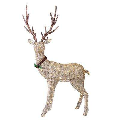 48 in. H Gold Fabric Mesh Standing Deer with 70-UL Listed Incandescent Lights