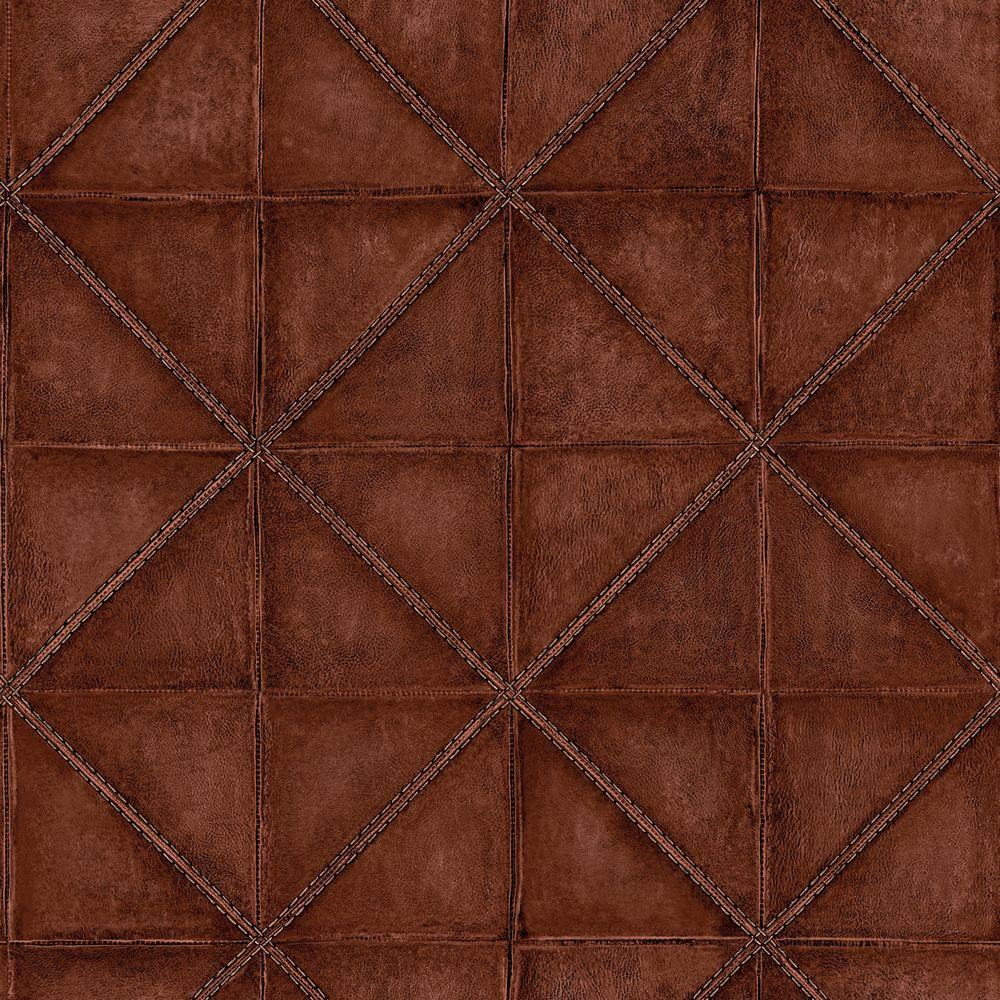 The Wallpaper Company 56 sq. ft. Mahogany Diamond Stitched Leather Wallpaper