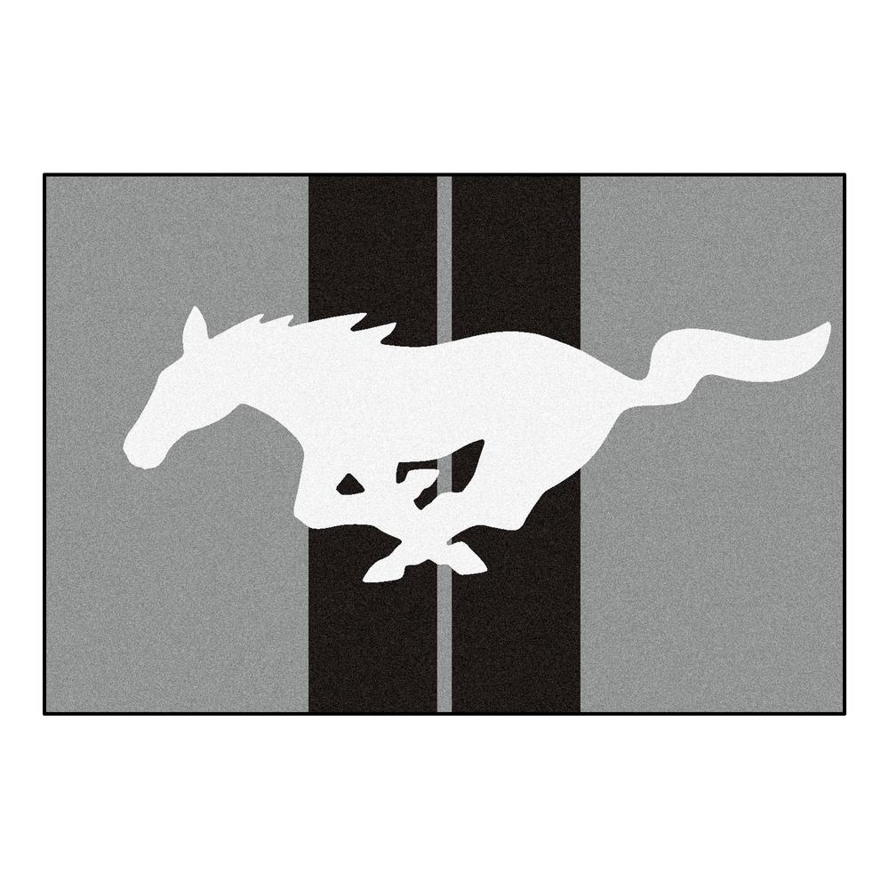 FANMATS Ford Mustang Horse Gray 8 Ft X 5 Indoor