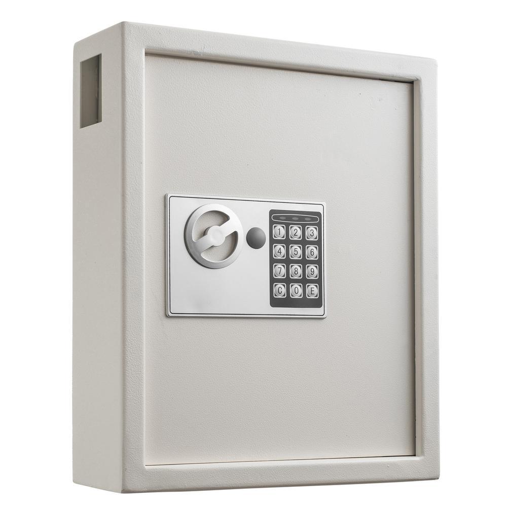AdirOffice 40-Key Steel Digital Lock Key Cabinet, White ...