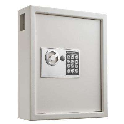 40-Key Steel Digital Lock Key Cabinet, White
