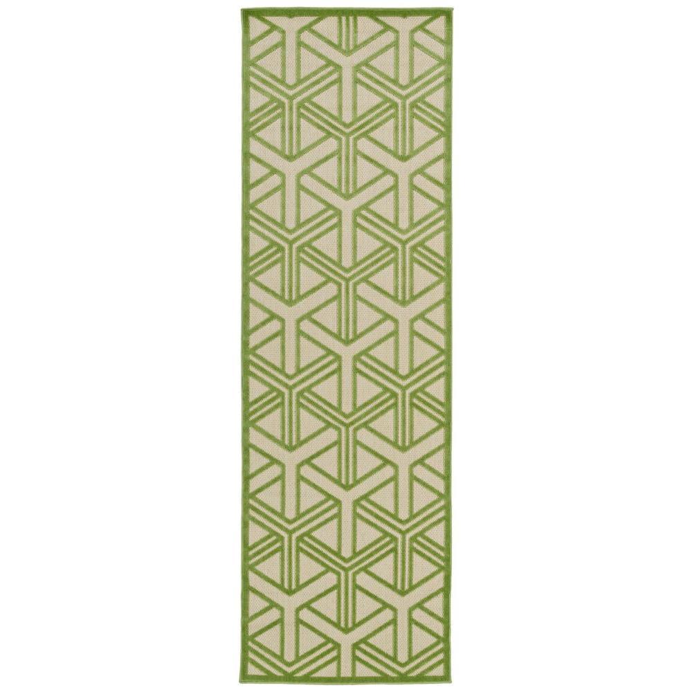 Five Seasons Green 3 ft. x 8 ft. Indoor/Outdoor Runner Rug