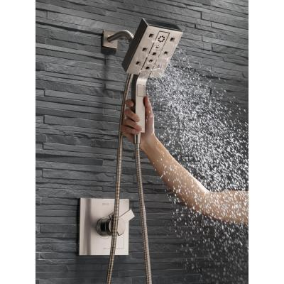 In2ition Two-in-One 4-Spray 5.9 in. Dual Wall Mount Fixed and Handheld H2Okinetic Shower Head in Stainless