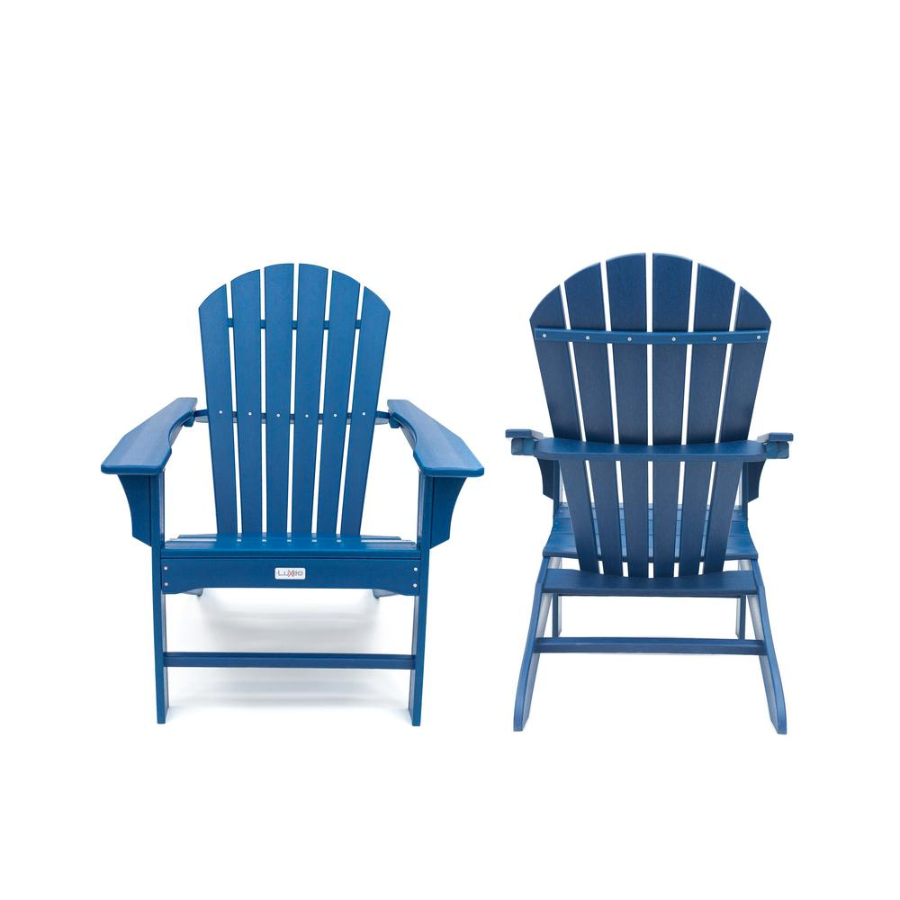 Luxeo Hampton Navy Poly Outdoor Patio Plastic Adirondack Chair 2 Pack