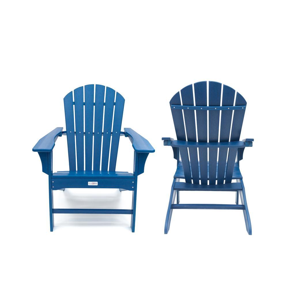 LuXeo Hampton Navy Poly Outdoor Patio Plastic Adirondack Chair (2-Pack)
