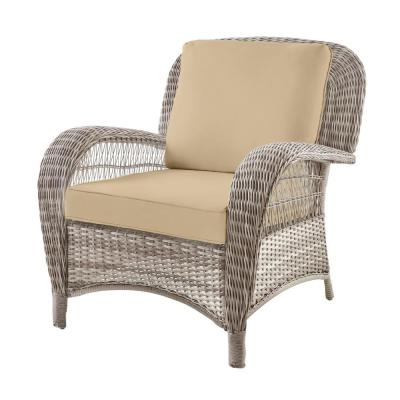 Beacon Park Gray Wicker Outdoor Patio Stationary Lounge Chair with Sunbrella Beige Tan Cushions