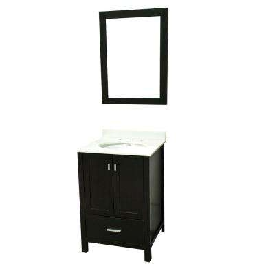 24 in. W x 22 in. D x 36 in. H Stylish Elegant Vanity With Marble Vanity Top in White with White Basin