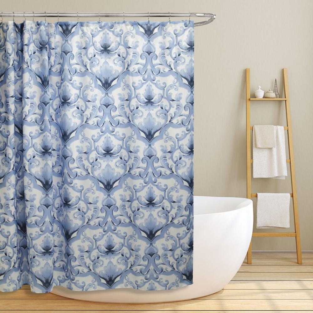 Miley 70 in. Blue Scroll Damask Canvas Shower Curtain-LS-SC028079 ...