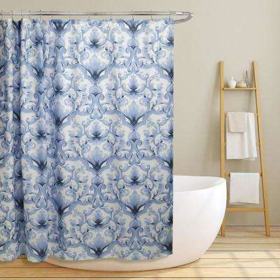 Miley 70 in. Blue Scroll Damask Canvas Shower Curtain