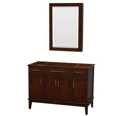 Hatton 47 in. Vanity Cabinet with Mirror Medicine Cabinet in Dark Chestnut