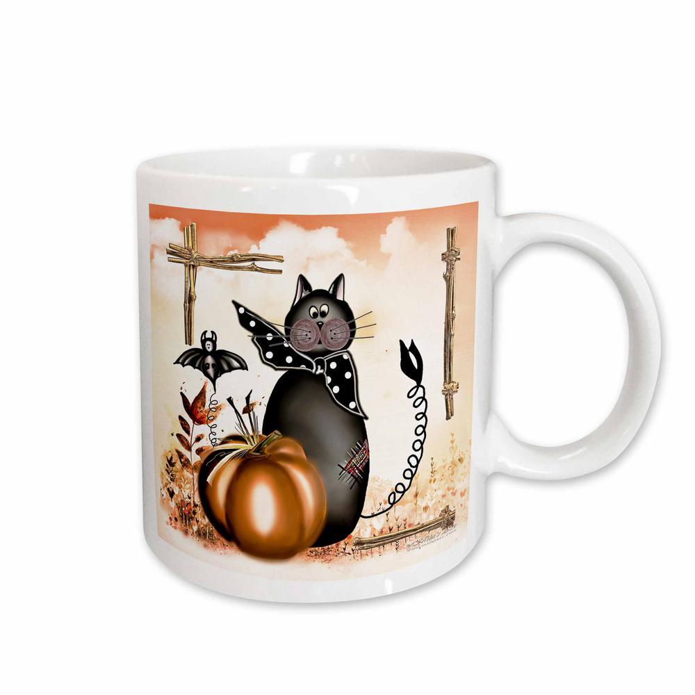 Milas Art Halloween 11 oz. White Ceramic Halloween Cat Mug