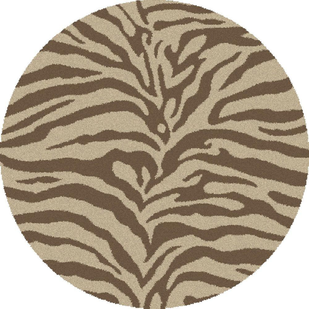Concord Global Trading Shaggy Zebra Natural 7 Ft Round Area Rug