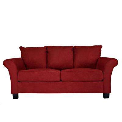 Red leather living room furniture Big Milan Sofa In Red Microfiber Gorodovoy Red Sofas Loveseats Living Room Furniture The Home Depot