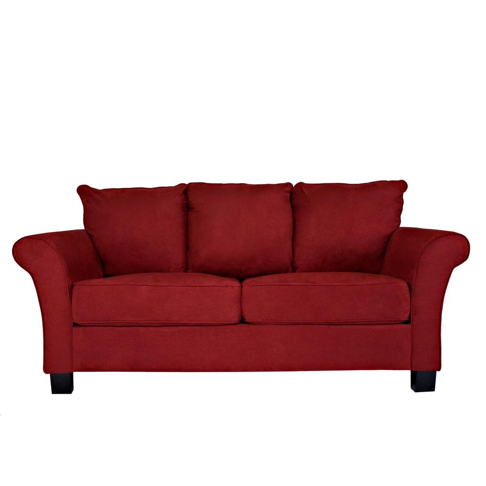Handy Living Milan Sofa In Red Microfiber