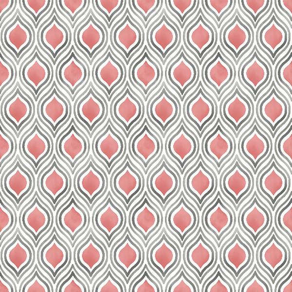 A-Street Plume Coral Ogee Wallpaper Sample 2702-22702SAM