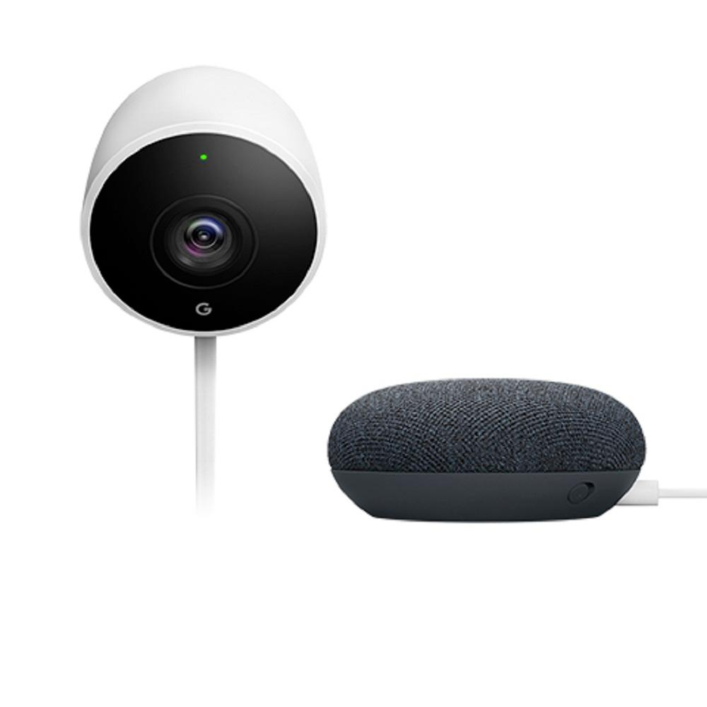 Nest Cam Outdoor with Google Home Mini Charcoal