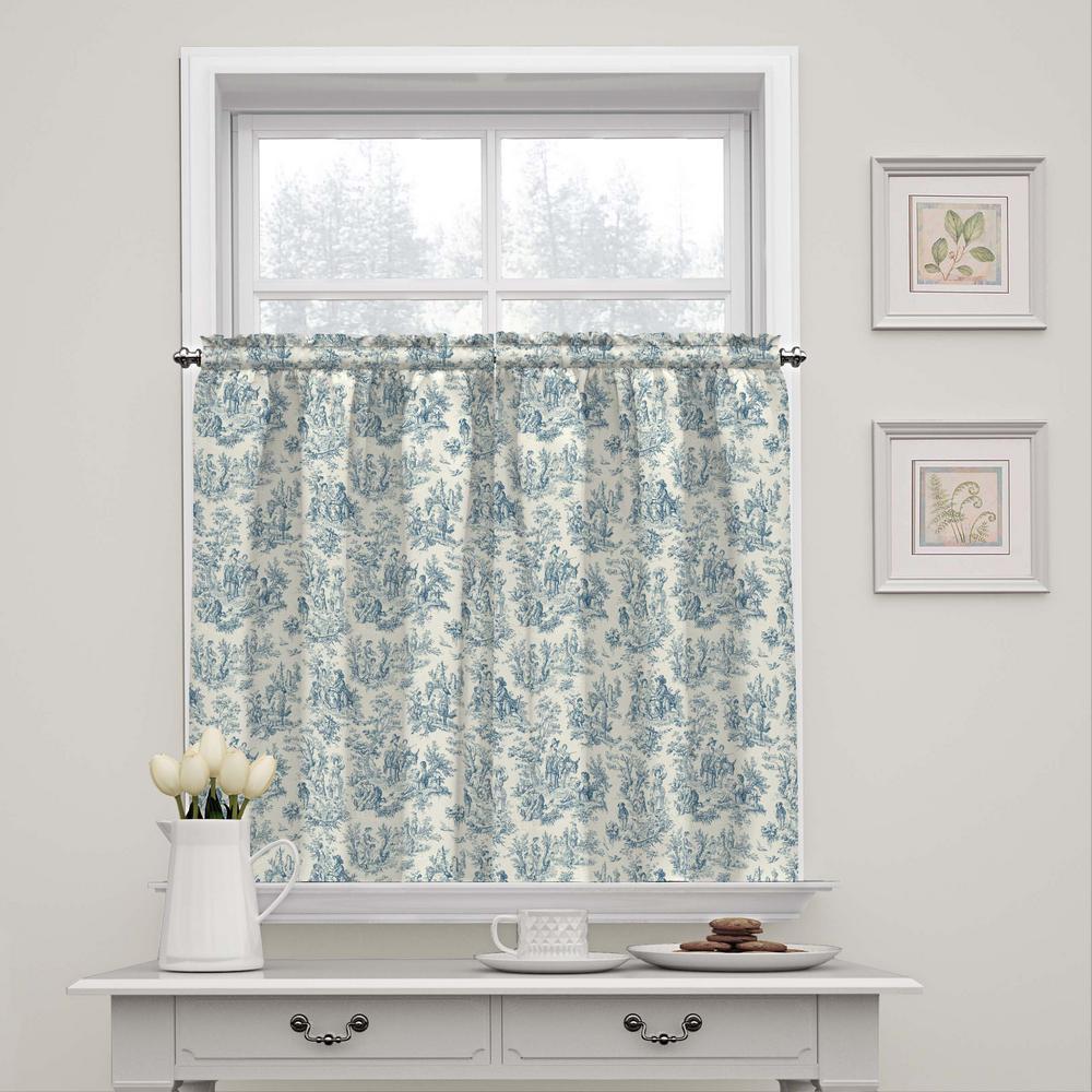 52 in. W x 36 in. L Charmed Life Rod Pocket Window Tier Pair in Cornflower