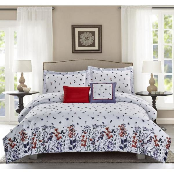 Meadow 5-Piece White King Comforter Set