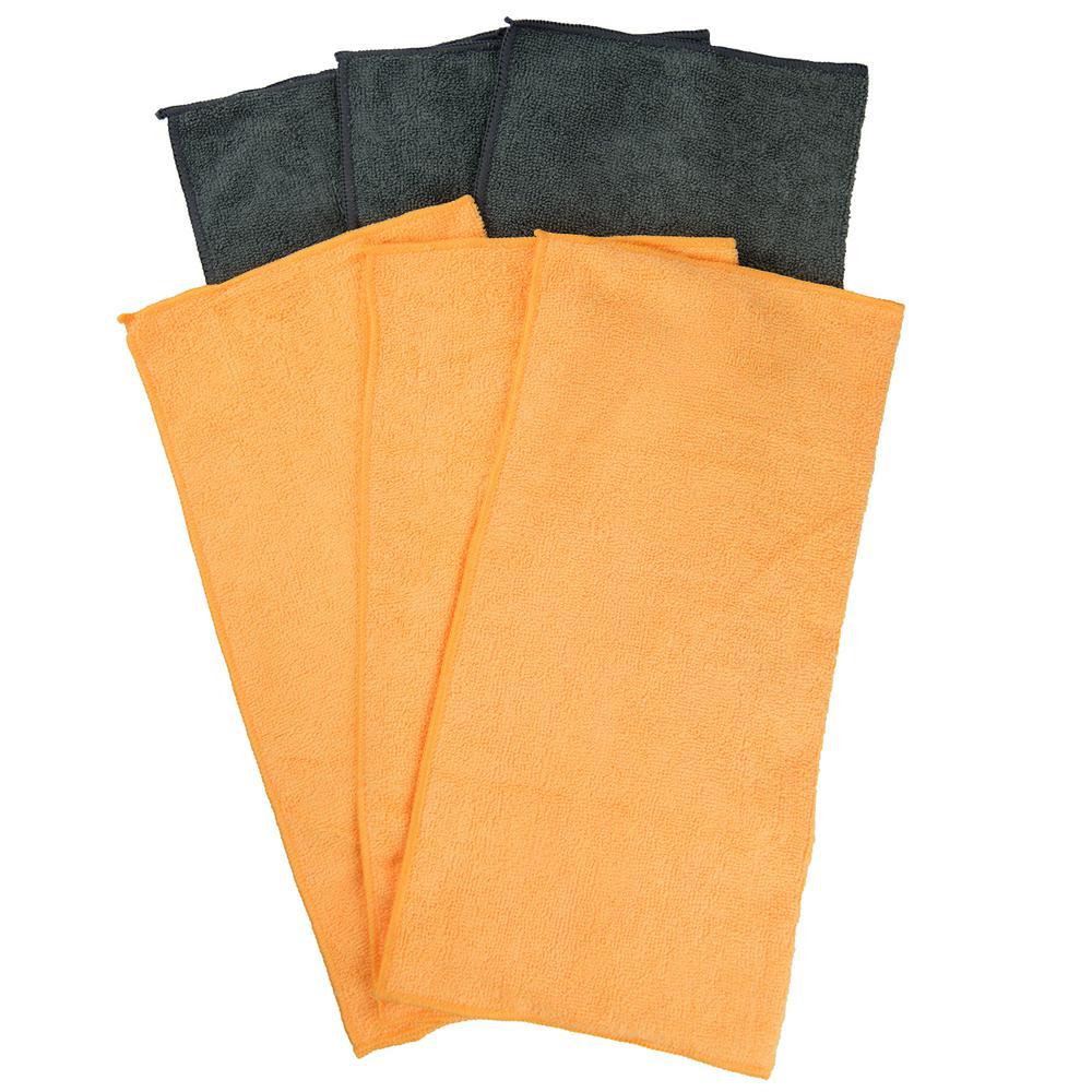 16 in. x 16 in. Multi-Purpose Microfiber Towels (6-Pack)