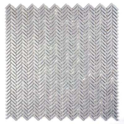 Constantine Lancelot Glycerin 12 in. x 12 in. x 6.35 mm Gray Glass Mesh-Mounted Mosaic Tile (10 sq. ft. / Case)