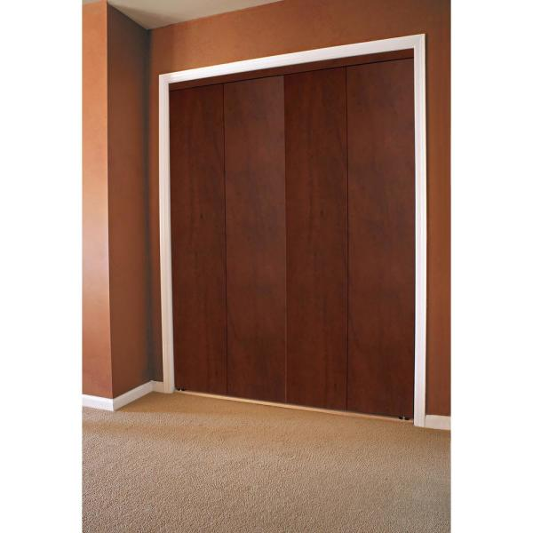 Impact Plus 84 In X 80 In Smooth Flush Solid Core Cherry Mdf Interior Closet Bi Fold Door With Matching Trim Bfc344 8480m The Home Depot